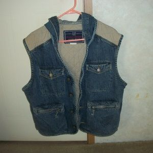 Denim and quilted cotton vest